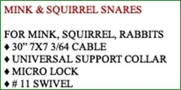 MINK & SQUIRREL SNARES